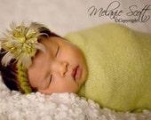 Newborn Halo, Newborn Tieback, Baby Halo, Newborn Headband, Baby Headband, Green Newborn Tieback, Green Baby Headband, Newborn Photo Prop,