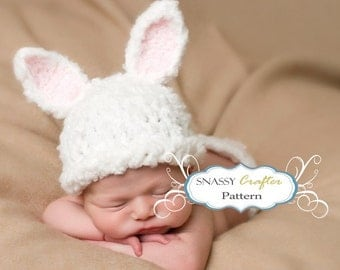 """Baby Hat Pattern, Crochet Newborn Bunny Pattern """"Fufu"""" Hat & Matching Diaper Cover Stand Up Ears :)"""