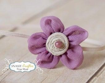 Purple Baby Headband, Newborn Headband, Tiny Baby Headband, Small Baby Headband, Purple Flower Headband, Used By Kelly Ryden, Pearl Headband