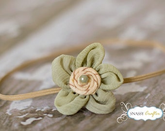 Baby Headband, Pastel Green Flower Baby Headbands, BABY Flower Headband, Newborn Photo Prop, Newborn Headband, Girl Headband