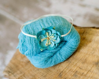 Turquoise Baby Wrap Set, Newborn Cheesecloth, Newborn Wrap Set, Baby Headband,Turquoise Cheesecloth, Baby Girl Props, Newborn Photo Prop