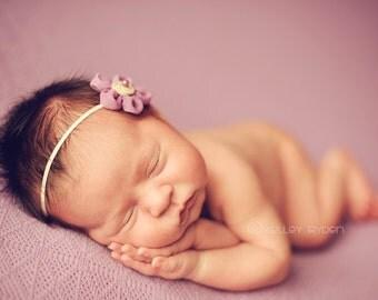 Purple Flower Headband, Purple Baby Headband, Small Newborn Headband, Tiny Baby Headband,  Purple Flower Headband, Used By Kelly Ryden