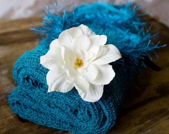 Newborn Tieback, Newborn Knit Wrap, Baby Halo, Newborn Photo Prop, Turquoise Knit Wrap, Turquoise Newborn Tieback, White Baby Headband
