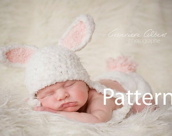 Bunny Baby Hat Pattern, Crochet Girl Hat, Newborn Hat Pattern, Diaper Cover Pattern, Newborn Bunny Hat, Newborn Diaper Cover, Newborn Hat