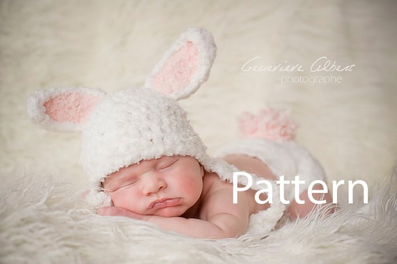 Free Crochet Pattern For Bunny Ears And Diaper Cover : Crochet Baby Hat Pattern Newborn 3 Months Bunny Hat Pattern