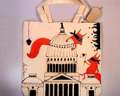 Bandito  on the Capitol, hand-painted natural canvas bag