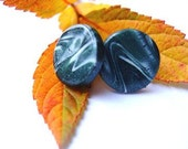 Earrings. White and dark green stud earrings colourful polymer clay