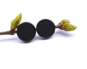 Black Stud Earrings- Darkness Stud Earrings- Black Ear Studs- Small Earrings Studs Posts- Halloween inspirations- Gift For Her. For him