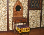 Gothic Dressing Table & Cushioned Bench dollhouse miniature 1/12 scale
