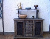 Rustic Kitchen Cupboard Dollhouse Miniature 1/12 Scale