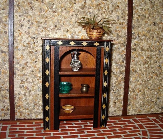 Cupboard, Hutch, Shelves, Wood Inlay Trim, dollhouse miniature 1/12 scale