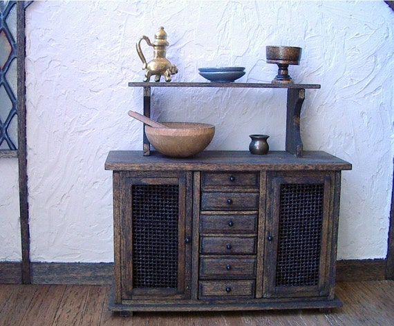 Rustic kitchen cupboard dollhouse miniature 1 12 scale for Rustic kitchen scale