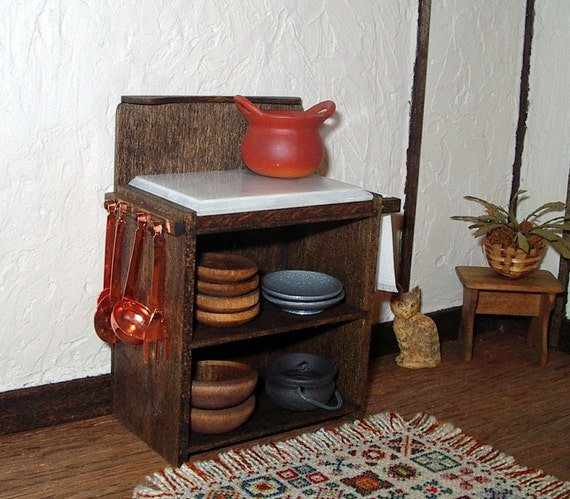 Rustic Kitchen Cabinet with Chopping Block, Dollhouse Miniature 1/12 Scale