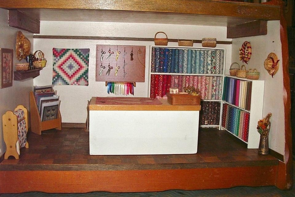 Fabric quilt shop room box dollhouse miniature 1 12 scale - Miniature room boxes interior design ...