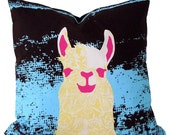 pillow case Llama Blue and Yellow