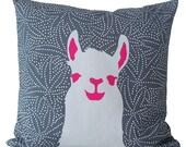 pillow case Llama Stone-grey