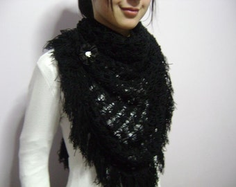 Fashion gifts,Hand Crochet Shawl -Black Crochet Shawl - Fashion- Sale,Love Charm