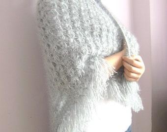 Cyber Monday Etsy-Cyber monday,Hand Crochet Triangle Shawl - Grey Crochet Shawl - Fashion- holiday accessories,bridesmaid gifts