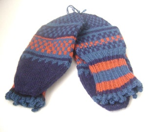Hand knit Wool men or women socks..