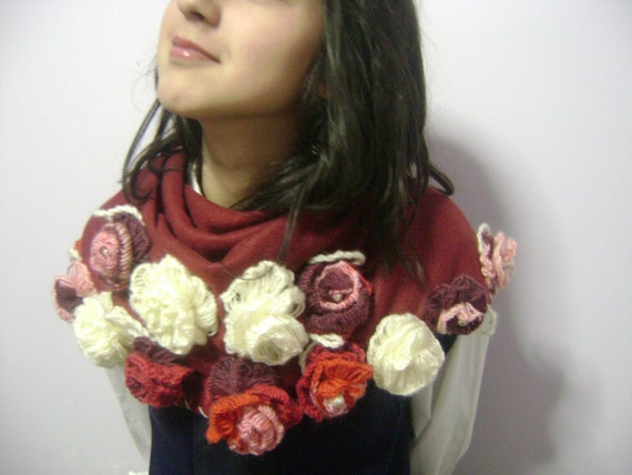 Spring burgundy shawl-sheer fashion-Ready to ship-Fashion gifts- Fashion- Summer-eco fashion