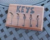 Hand Stamped Walnut Key Rack