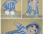 Andy Pandy doll toy crochet knitted pattern PDF