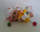 "8""-8.5"" Berenguer Lil' doll outfit crochet PATTERN PDF N6- Lucky Cat"