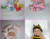 "5""-8""-10"" Berenguer doll's knitting PATTERNS, PDF,set of 4"