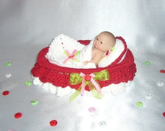 Doll crib bed bedding bassinet crochet pattern PDF