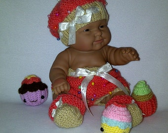 "14"" Berenguer doll/ 16"" Baby Born doll knitting PDF PATTERN Cupcake outfit hat shoes panties"