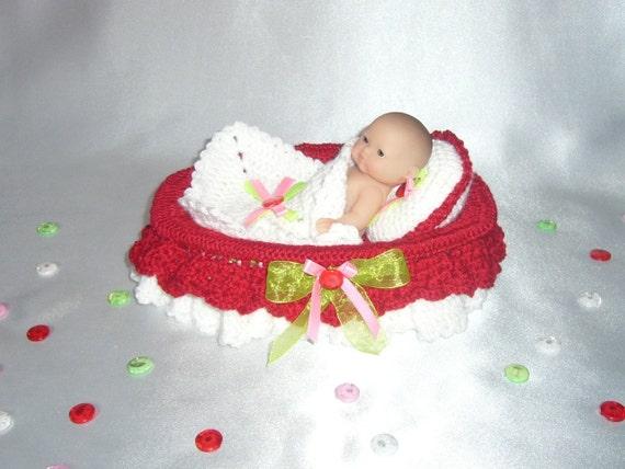 Doll crib bed bedding bassinet crochet pattern PDF