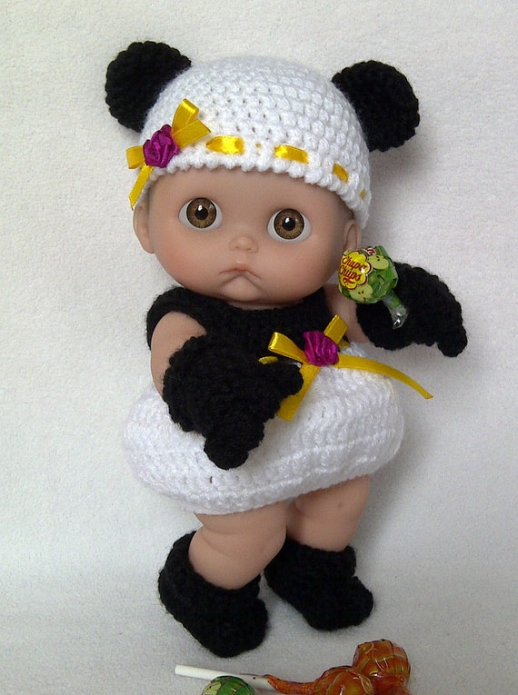 "8""-8.5"" Berenguer Lil' Cutesies doll panda outfit crochet PATTERN PDF N7"
