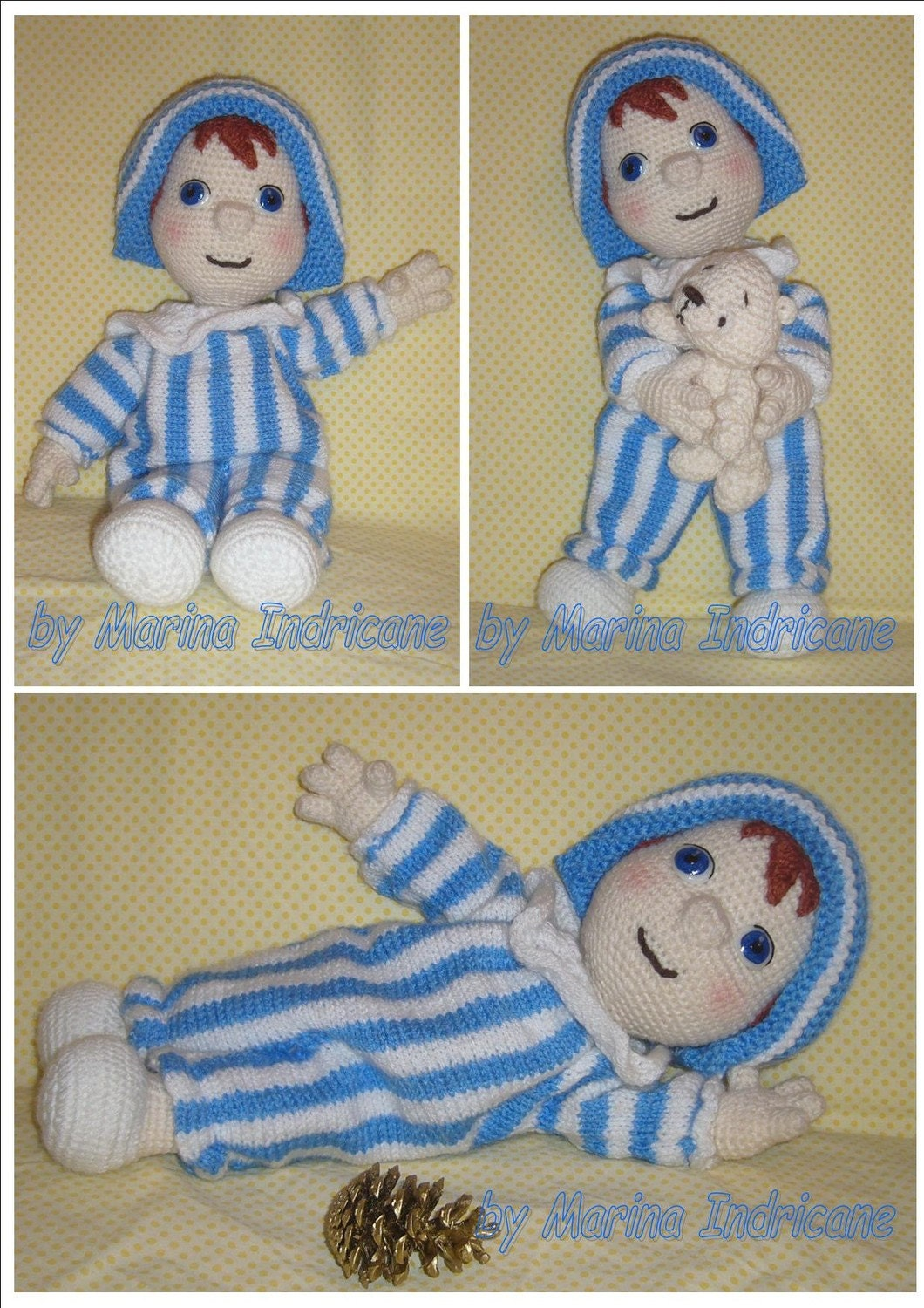 Knitting Patterns For Toy Dolls : Andy Pandy doll toy crochet knitted pattern PDF