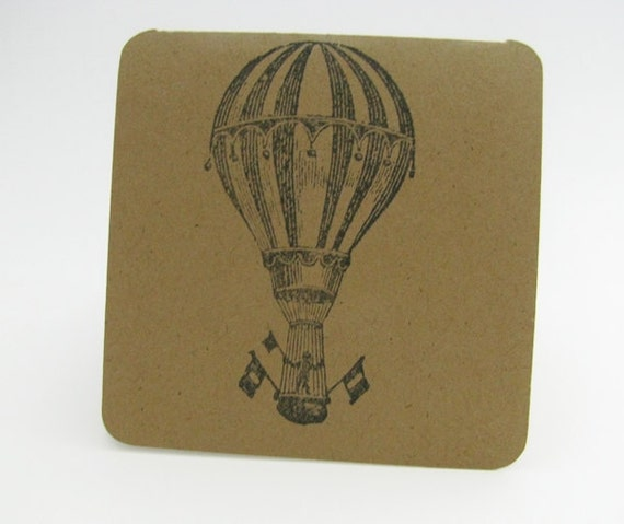 6 Handstamped Mini Notecards, Hot Air Balloon Notecards, Mini notecards