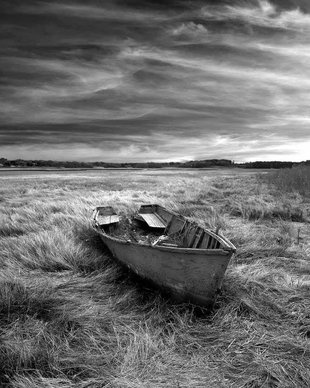 Black & White photo of old boat in field by unadillaarts ...