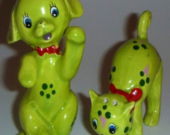 Lime Green Vintage Cat n Dog Salt and Pepper Shakers