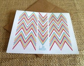 Note Cards: Chevron Colorful Hello in 8 Languages with Kraft Envelopes, Missoni Chevron Inspired Notecards- Valentine's Gift