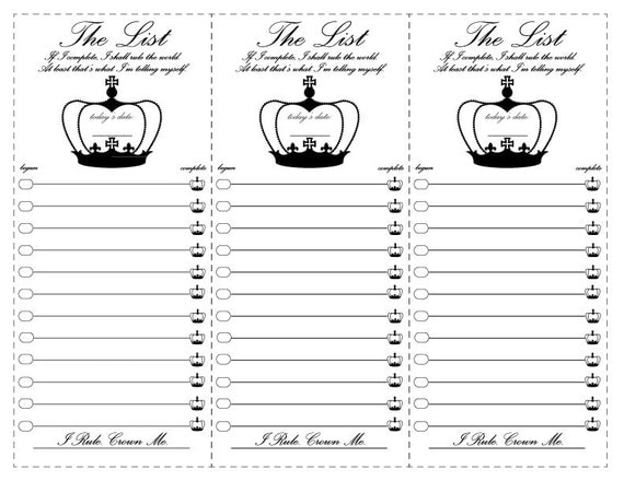 Printable To Do List , Crown To Do List, To-Do-List, Checklist Rule The World