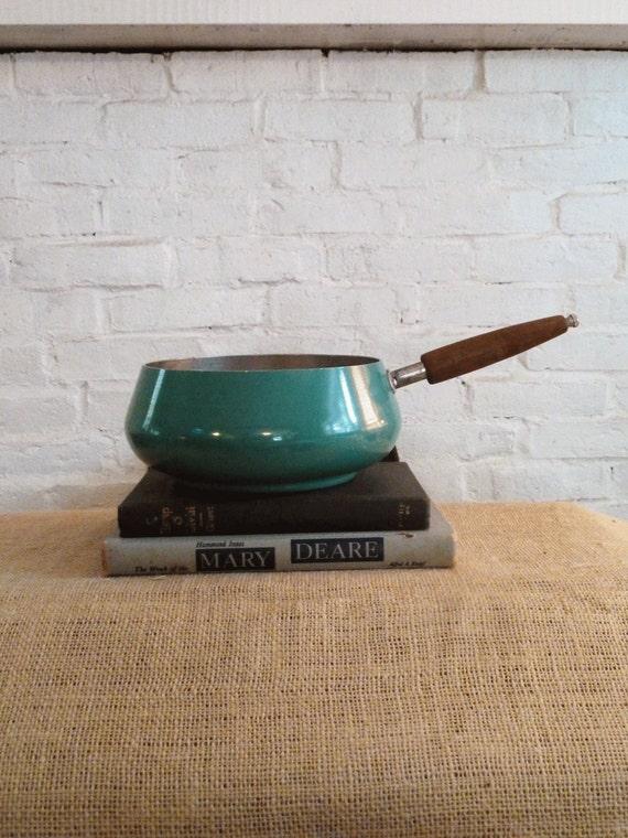 Fondue Pot Mid Century Teal Green Wood Handle