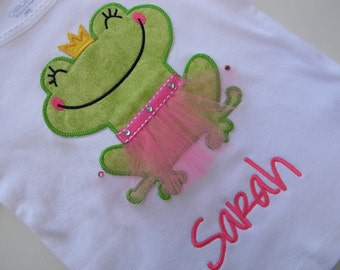 EXCLUSIVE Ballerina Smiling Frog Applique T Shirt for Children by Bubblebabys