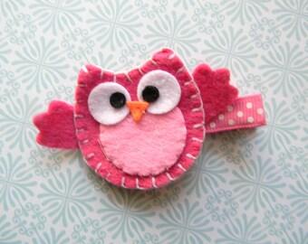 Hot Pink Owl Felt Clip