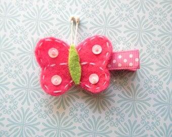Hot Pink  flower Clip baby clip flower pearl hair clip butterfly clip felt clip