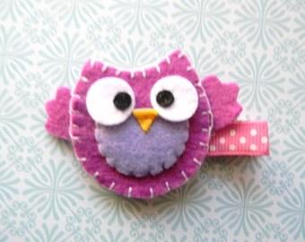 Purple Owl Felt Clip
