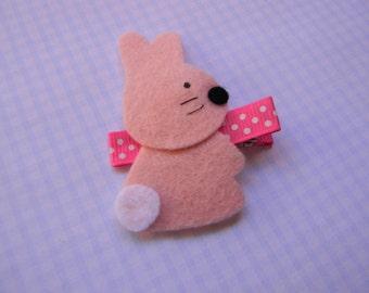 Pink Bunny Felt Clippie