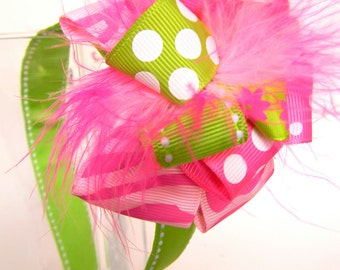 Hot pink and Lime Green Loop Style HeadBands