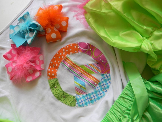 EXCLUSIVE Patchwork Peace Sign with Swarovski Cyrstals T Shirt for Children by Bubblebabys