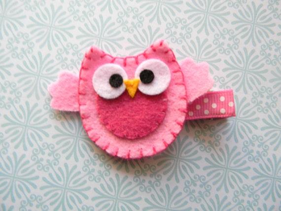 Pink Owl Felt Clip
