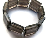 CLEARANCE SALE Silver Grey Bracelet Silver Lined - Silver Lined Glass Beads Bracelet One Size Fits All  (B14)