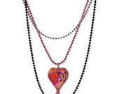"Pink Necklace 24"" - Black, Pink & Silver Necklace (N039)"