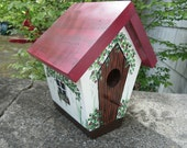 Handmade - Hand Painted Bird House - Red Country Collection Bird House-OOAK